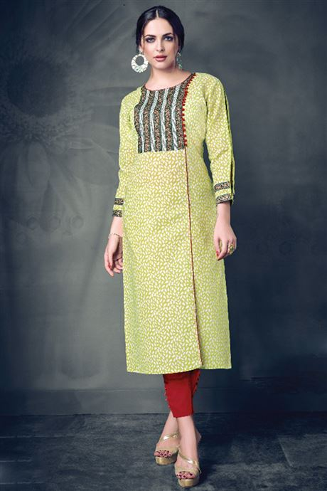 Ladies Cotton Printed Daily Office Ready To Wear Kurtis Wholesale Catalog In India