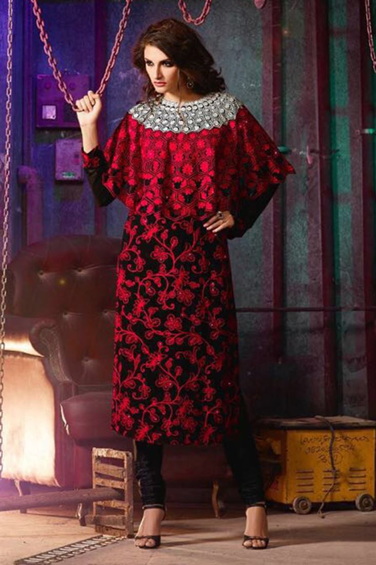 Appealing Black And Red Heavy Embroidered Silk Net Fabric Semi Stitched Anarkali Salwar Suit