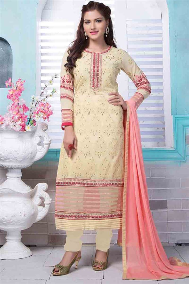 Appealing Cream Embroidered Work Georgette Wholesale Designer Salwar Kameez