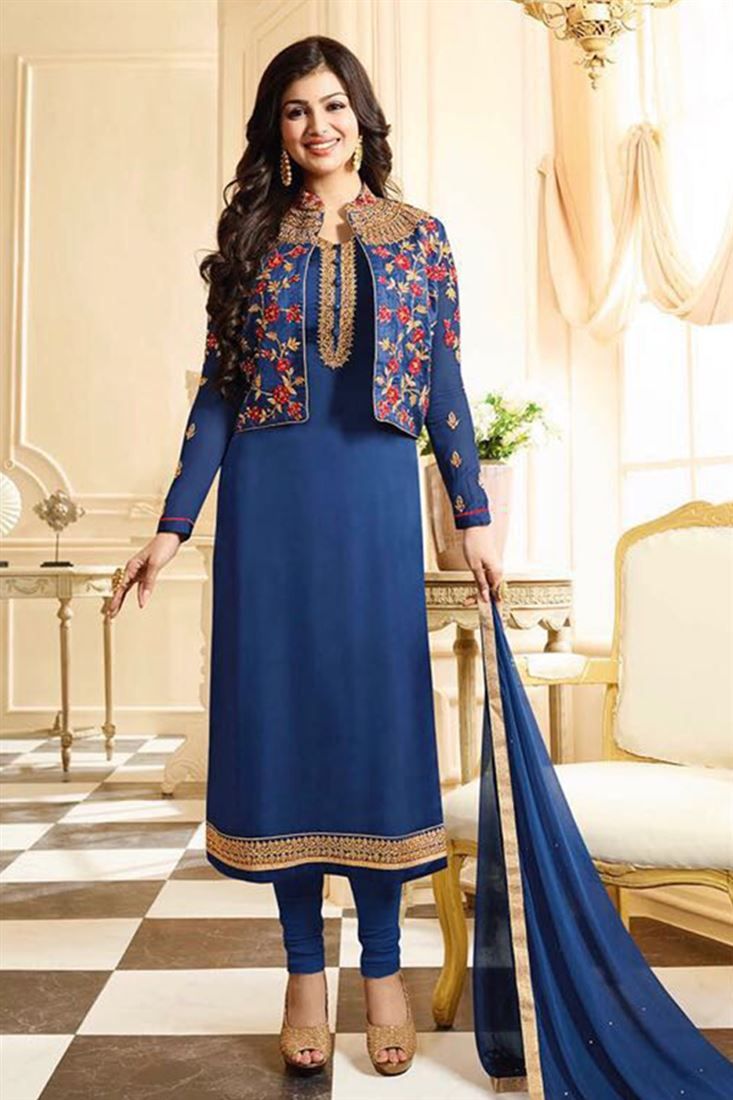 Appealing Pure Georgette Embroidered Work Semi Stitched Salwar Kameez In Germany