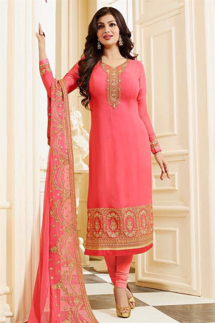 Attractive Pure Georgette Embroidered Work Semi Stitched Salwar Kameez In Georgia