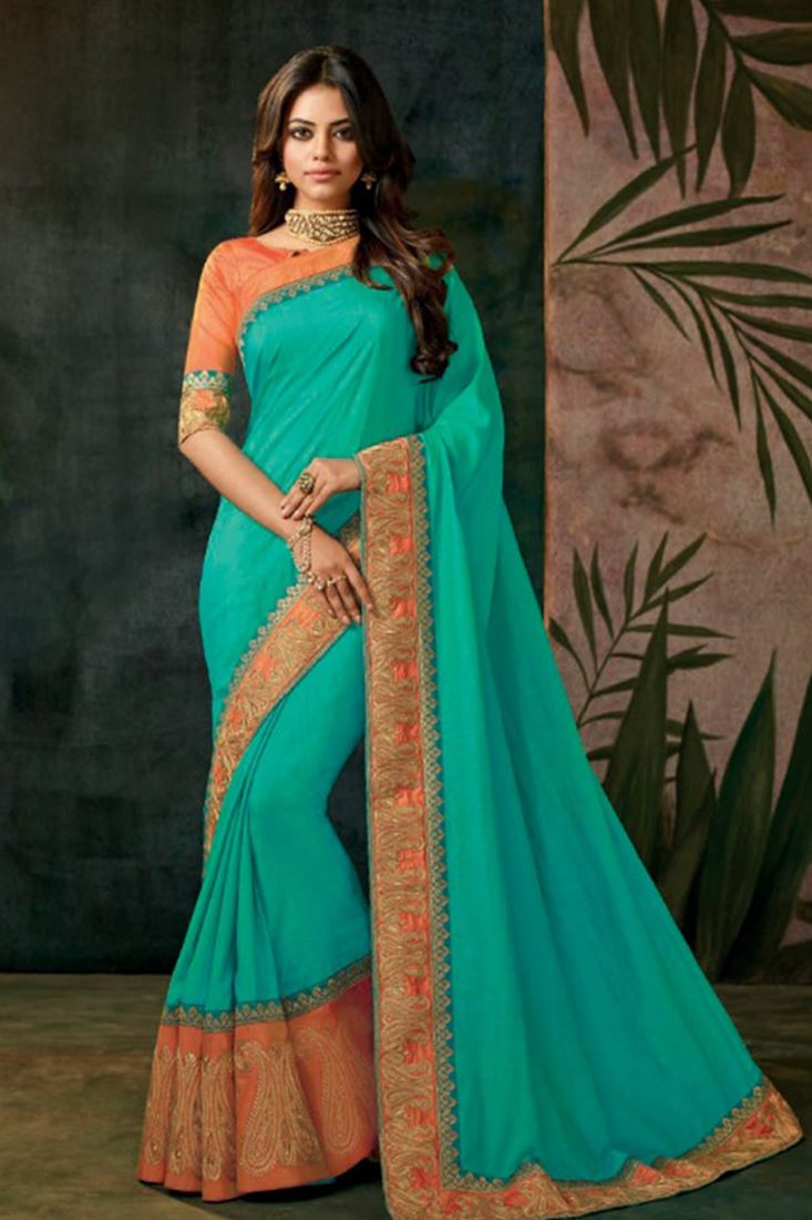 Beauteous Georgette Silk Embroidered Work Un Stitched Sarees In Hong Kong