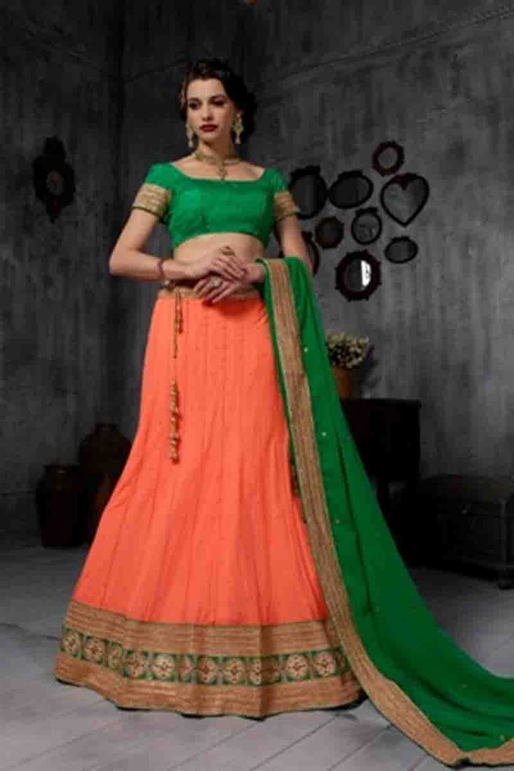 Blooming Orange Heavy Embroidered Soft Net Bridal Wear Lehenga Choli With Blouse Designs