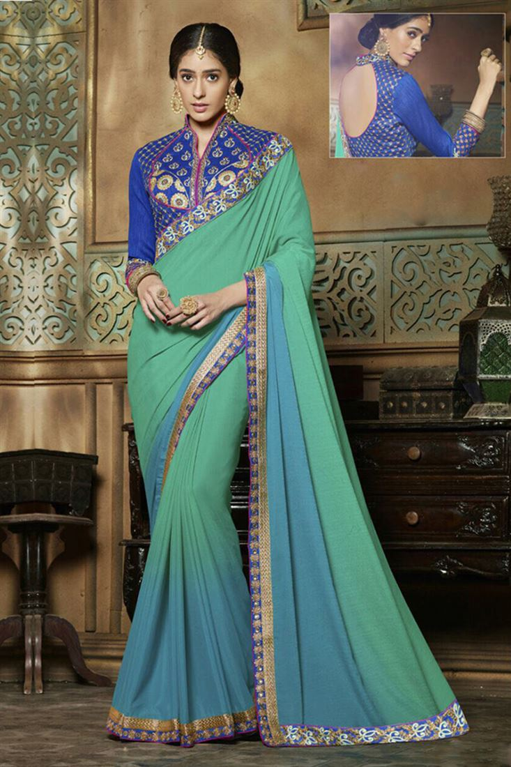 Blossoming Embroidered Work Georgette Saree