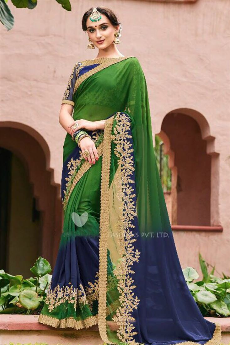 Blossoming Faux Georgette Embroidered Work Un Stitched Sarees In Canada