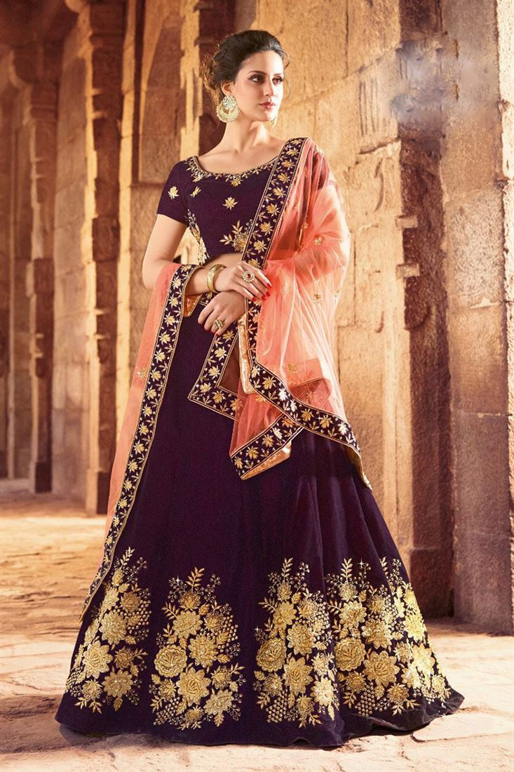 Broad Flared Colorful Quarter Sleeves Lehenga Cholis Supplier In Surat