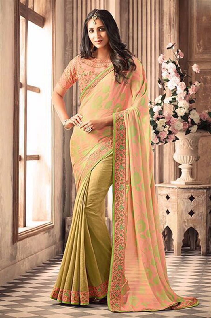 Compelling Silk Georgette Embroidered Work Un Stitched Sarees In Japan