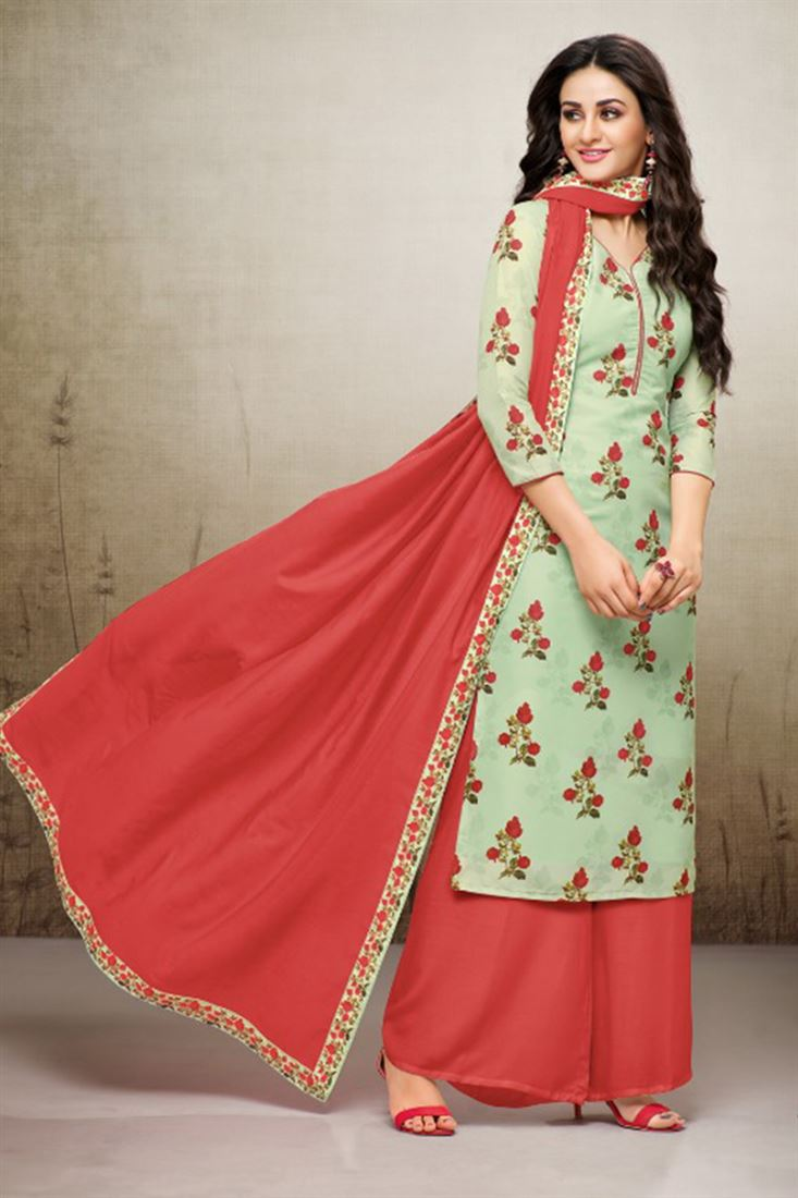 Cotton Party Wear Stitched Plazzo Salwar Suits Catalog Manufacturer And Exporter From Gujarat