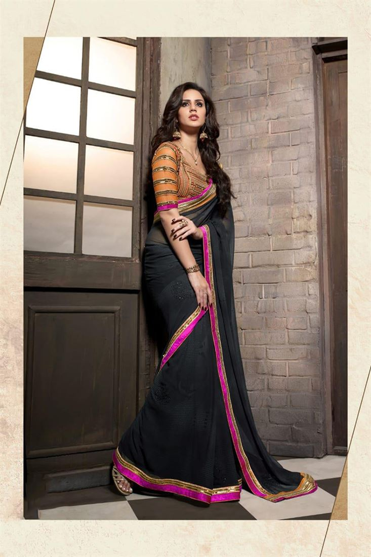 Cute Exclusive Georgette Embroidered Work Un Stitched Sarees In Bahrain
