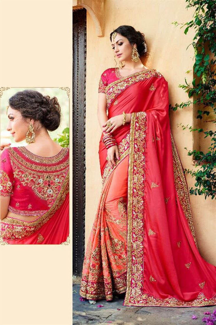 Cute Exclusive Silk Georgette Embroidered Work Un Stitched Sarees In Karnataka