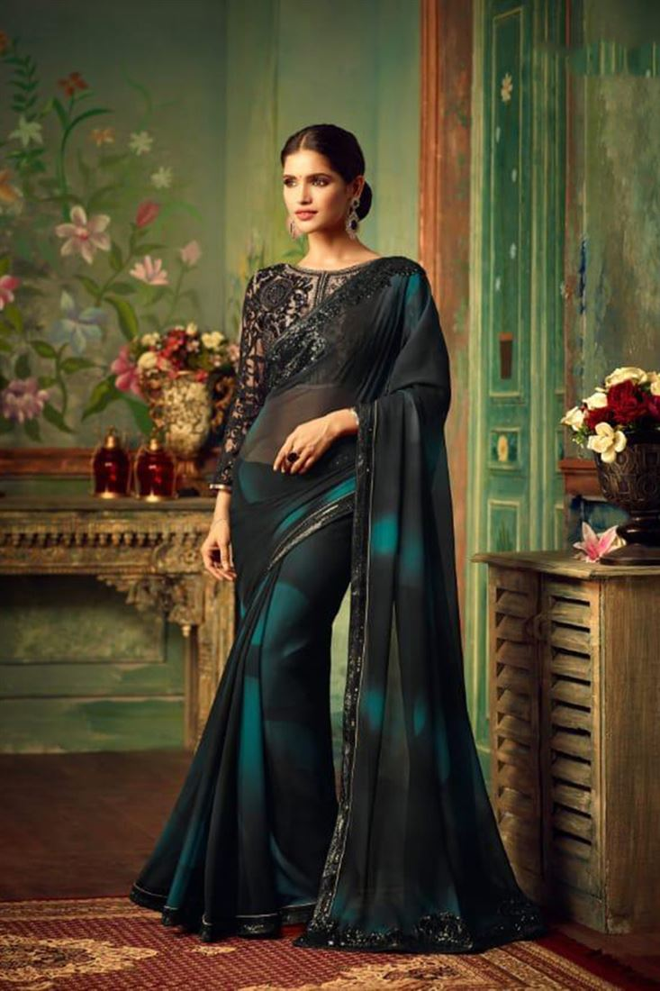 Dazzling Georgette Embroidered Work Un Stitched Sarees In Colombia