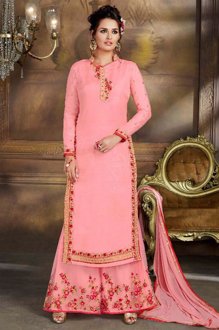 Designer Georgette Silk Wholesale Embroidered Salwar Kameez