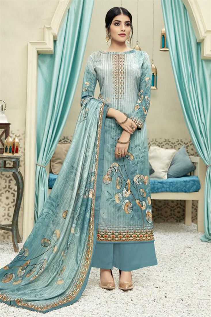 Digital Print Palazzo Style Crepe Silk Unstitched Womens Suits Indian Daily Wear Salwar Kameez Catalog Wholesaler In Canada