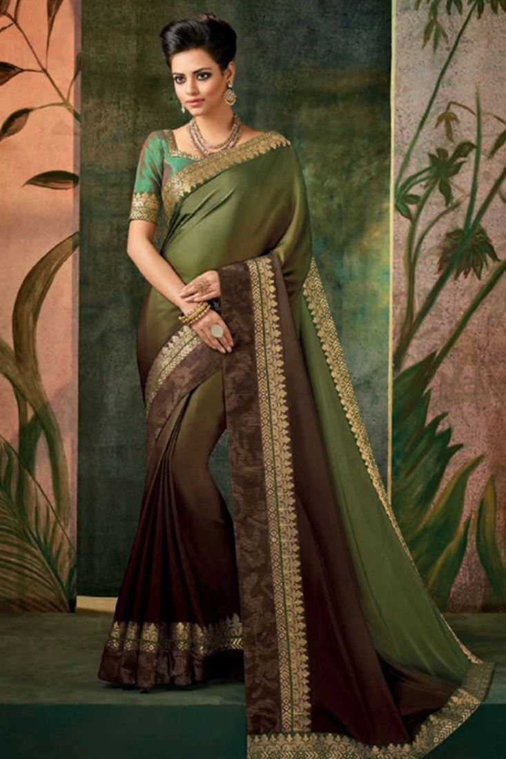 Divine Georgette Silk Embroidered Work Un Stitched Sarees In Indonesia
