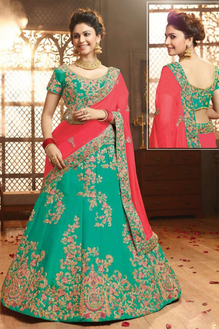 Elegant Silk Embroidered Work Un Stitched LEHENGA In Saudi Arabia