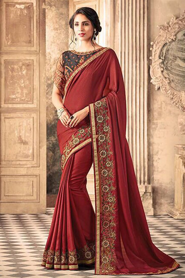 Elegant Silk Georgette Embroidered Work Un Stitched Sarees In India