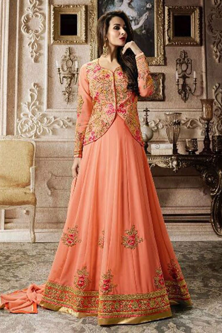 f49cbad6626 Exotic Party Wear Heavy Work Embroidered Stylish Anarkali Suits Wholesaler