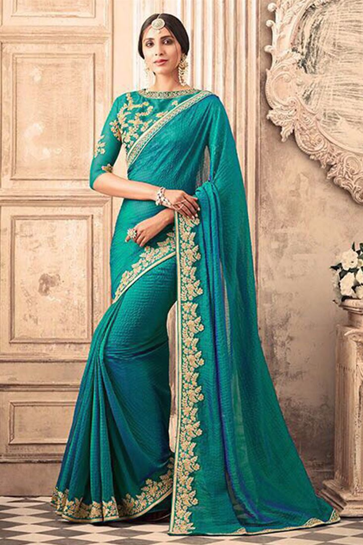 Fabulous Silk Georgette Embroidered Work Un Stitched Sarees In Iran