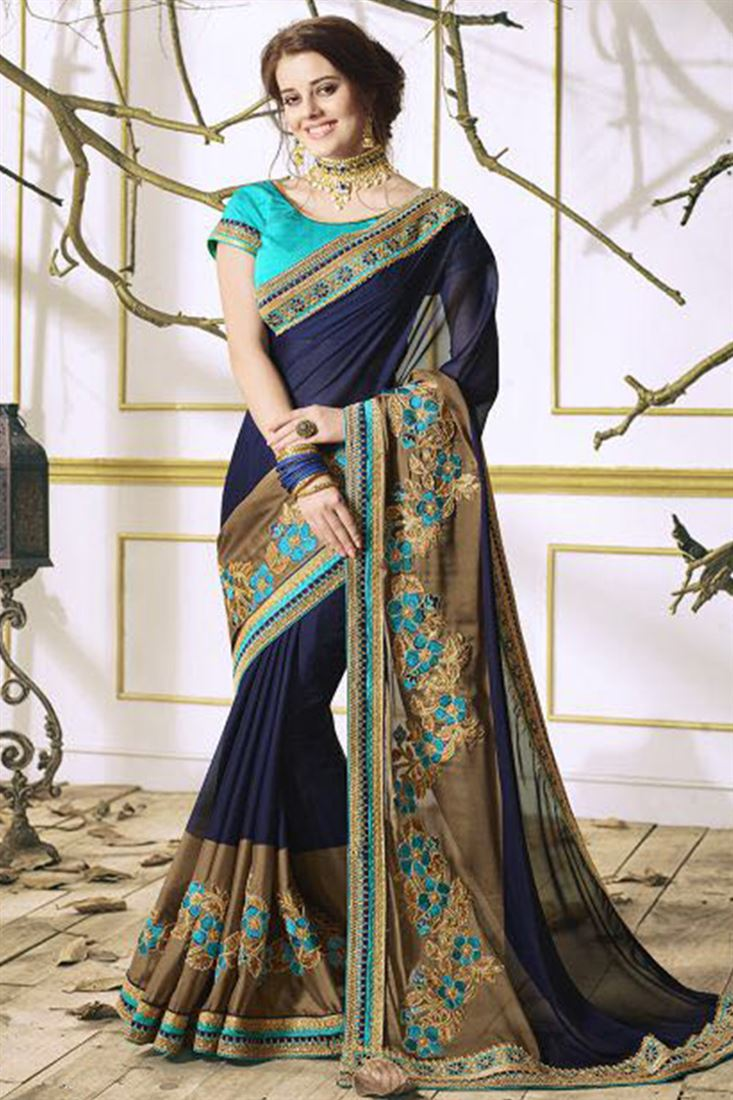Fancy Designer Embroidery Work Sarees Catalog 2018 ...