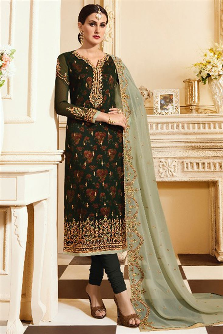 Georgette Embroidered Suits Catalog Wholesale Supplier Of Ladies Suits In India