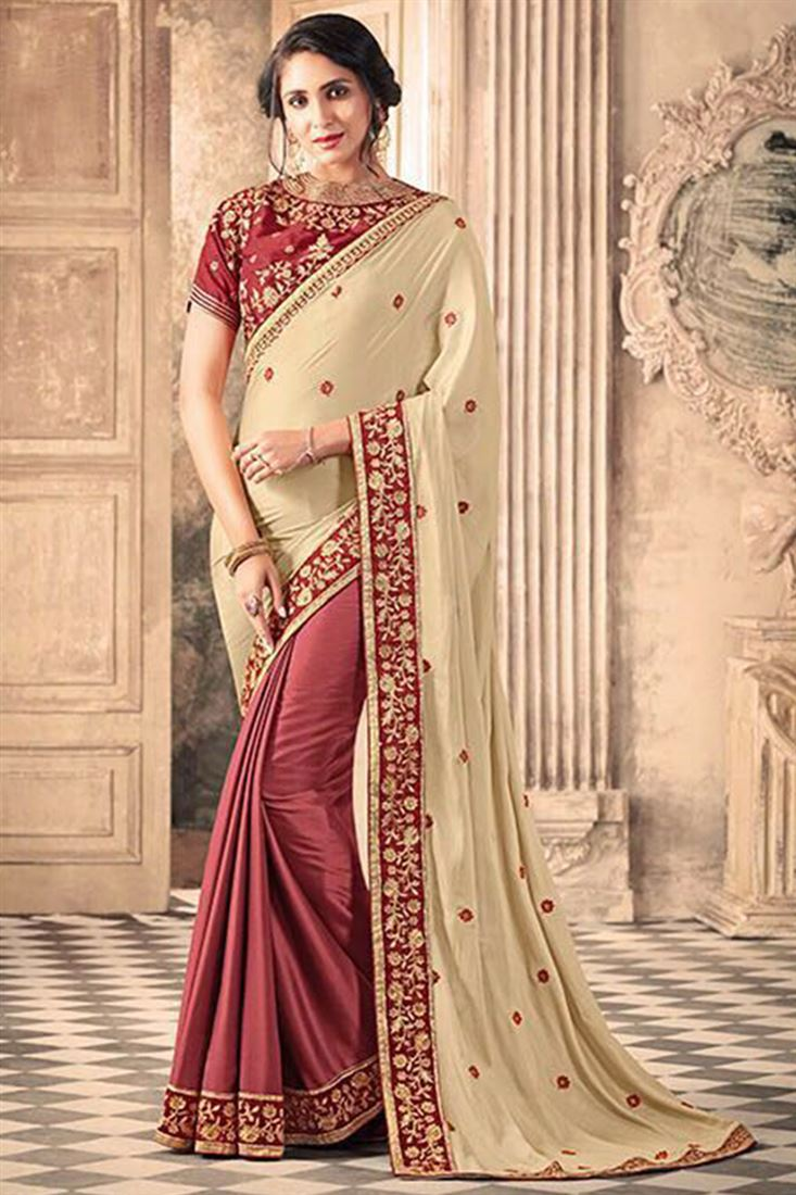 Impressive Silk Georgette Embroidered Work Un Stitched Sarees In Goa