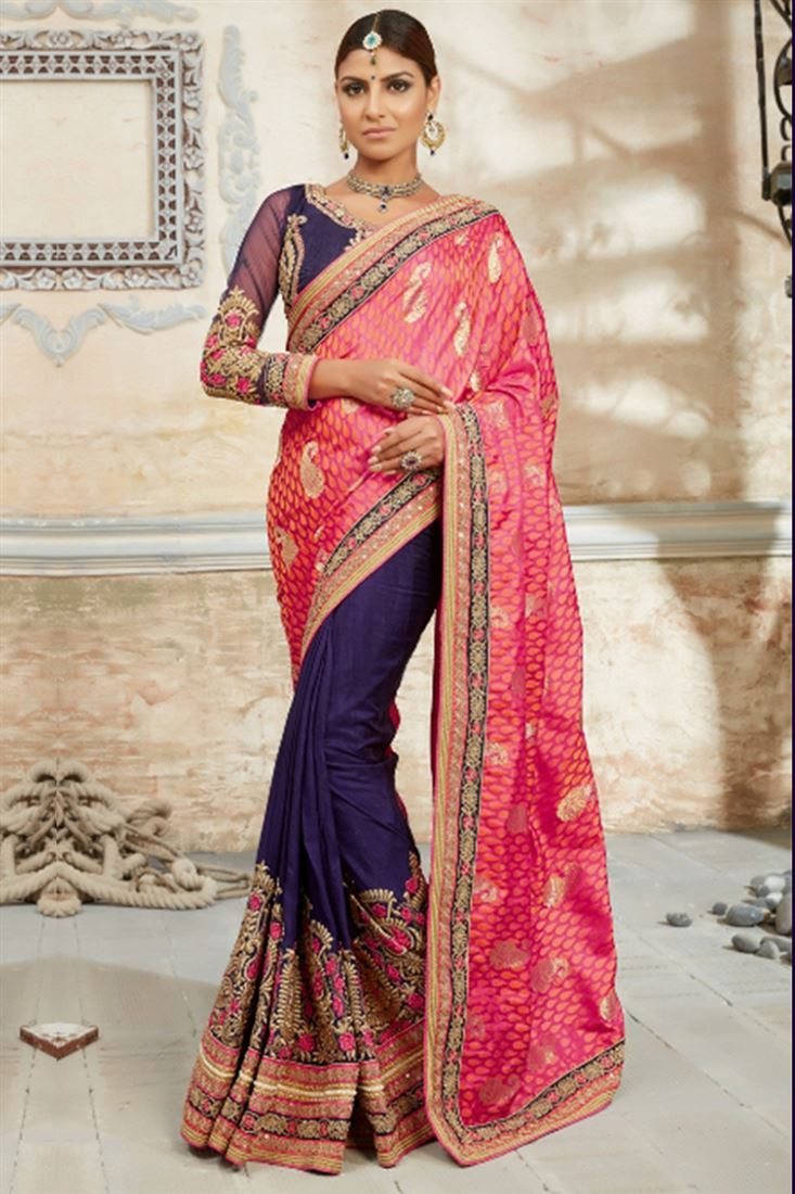Incredible Navy Blue Embroidered Work Womens Indian Designer Saree