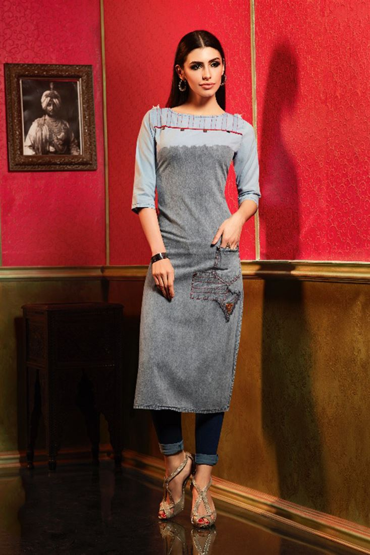 Latest Denim Wholesale Embroidered Kurti Catlogs Manufacturer In Italy