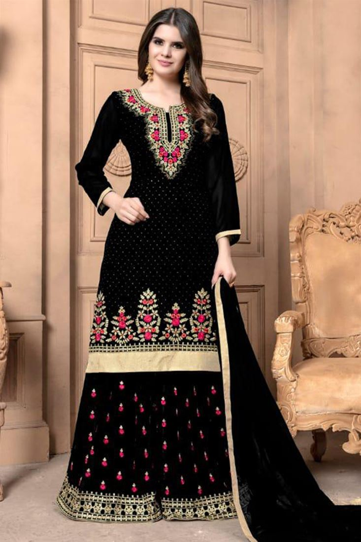 Latest Wholesale Price Sharara Embroidered Salwar Kameez Catalog Online Ladies New Sharara Salwar Kameez Collection