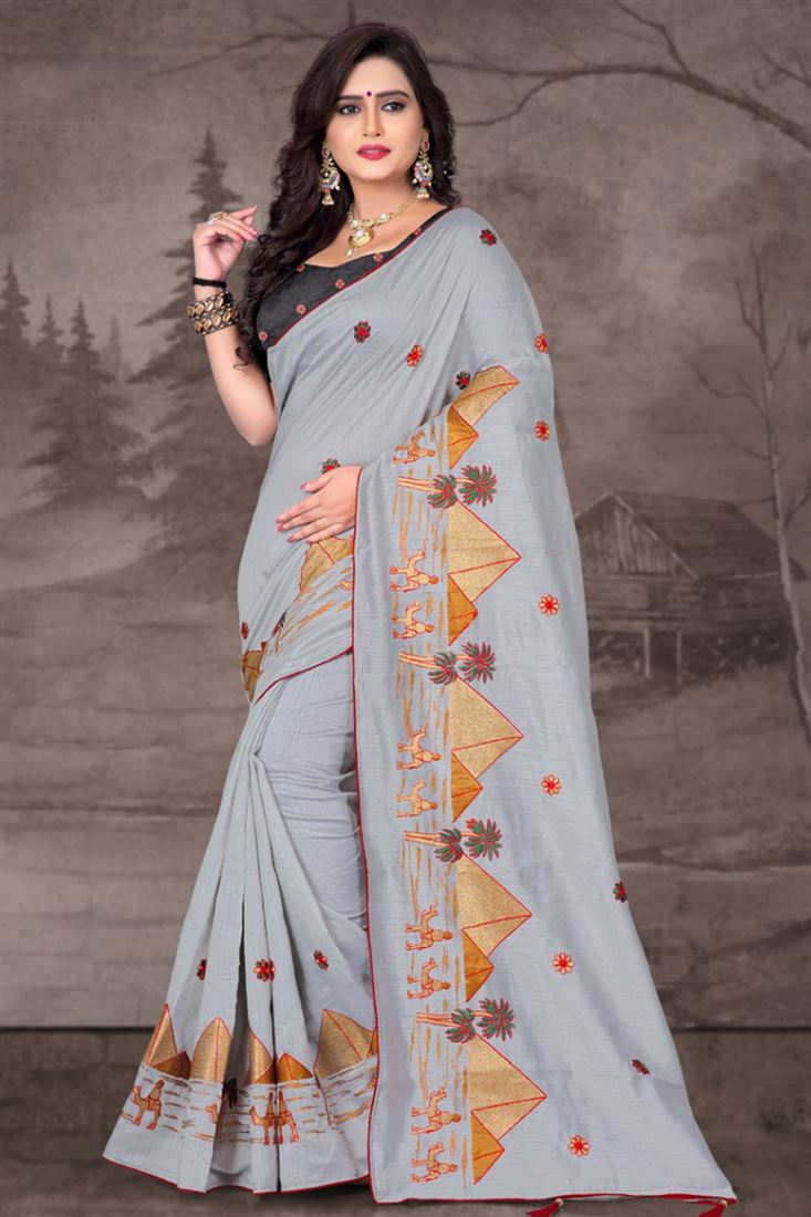 Light Color Royal Linen Casual Wear South Indian Sarees Collection Buy Online From Surat Manufacturer