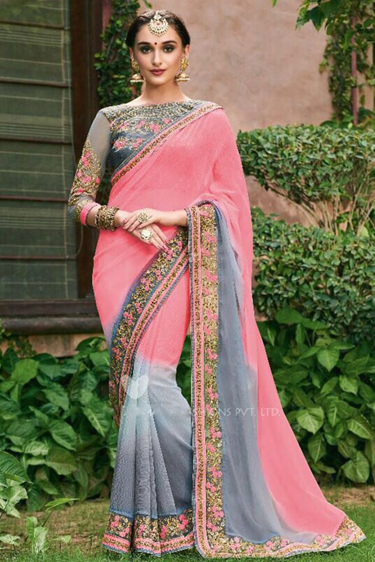 Majestic Faux Georgette Embroidered Work Un Stitched Sarees In Brazil