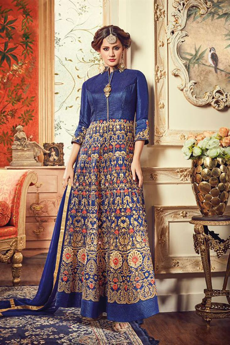 Marvelous Blue Net Fabric Heavy Embroidered Wholesale Semi Stitched Salwar Kameez