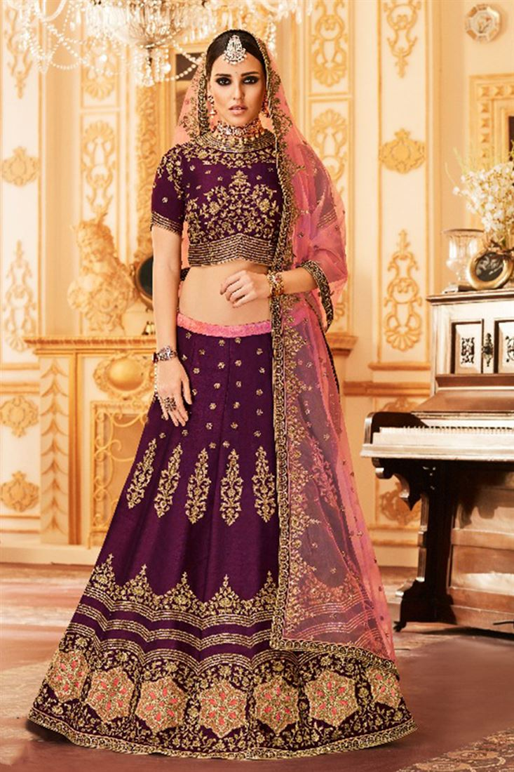 Melbourne Silk Heavy Embroidered Work Lehenga Catalogue Manufacturer And Supplier Online
