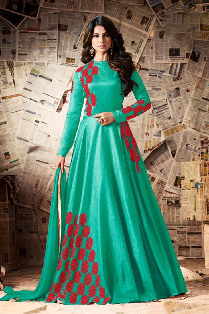 Pretty Green Color Pure Silk Full Flair Floor Length Suit Wholesale Semi Stitched Resham Work Salwar Kameez