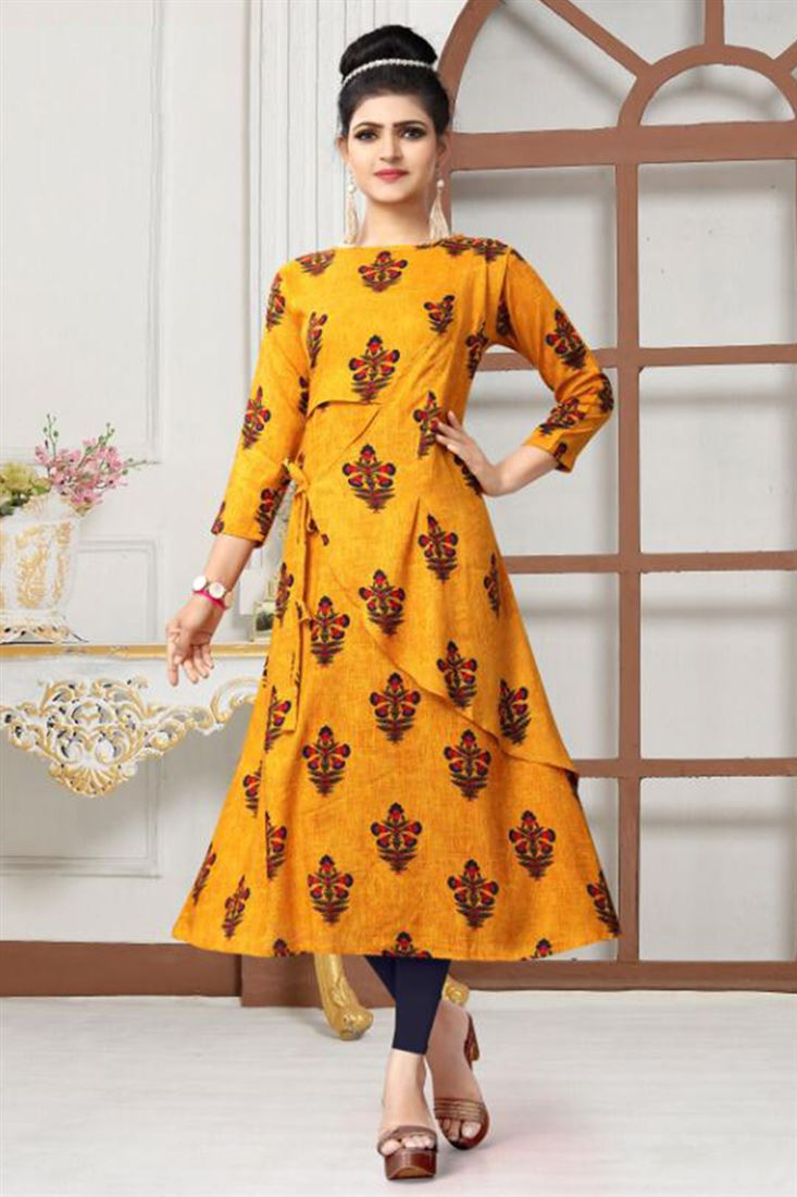Printed Gown Style Kurtis Womens Rayon Readymade Kurtis Wholesale Dealer Of Gown Style Kurtis At Lowest Price Rate