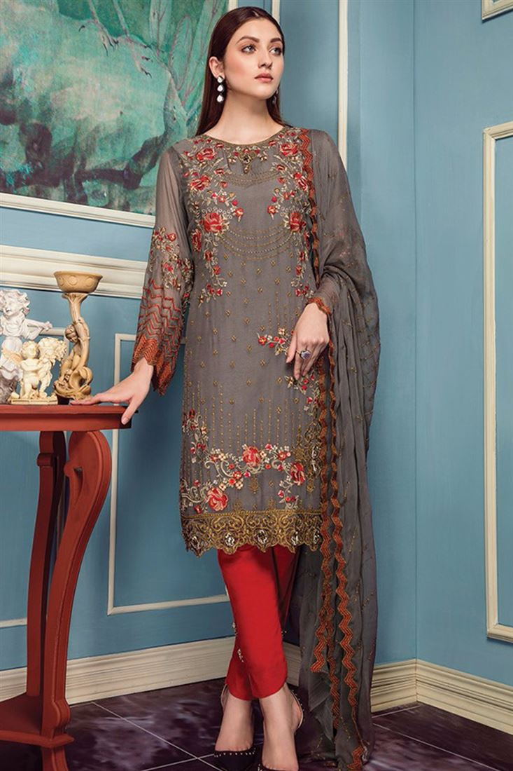 Ravishing Georgette Embroidered Work Semi Stitched Salwar Kameez In Bihar