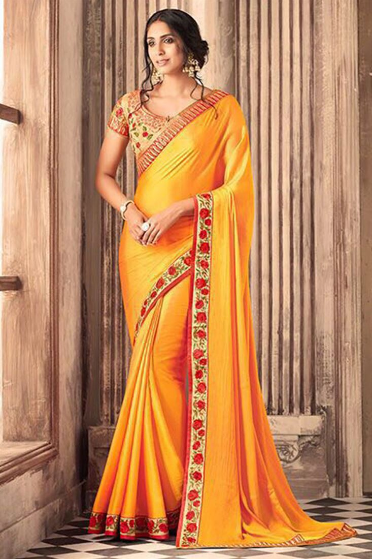 Soothing Silk Georgette Embroidered Work Un Stitched Sarees In Mauritius