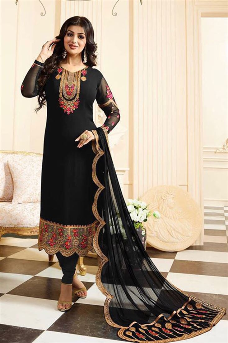 Stunning Pure Georgette Embroidered Work Semi Stitched Salwar Kameez In Egypt