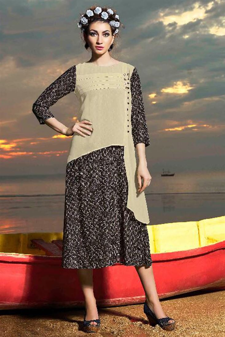 Stylish Rayon And Georgette Fabric Designer Kurtis Catalog Supplier