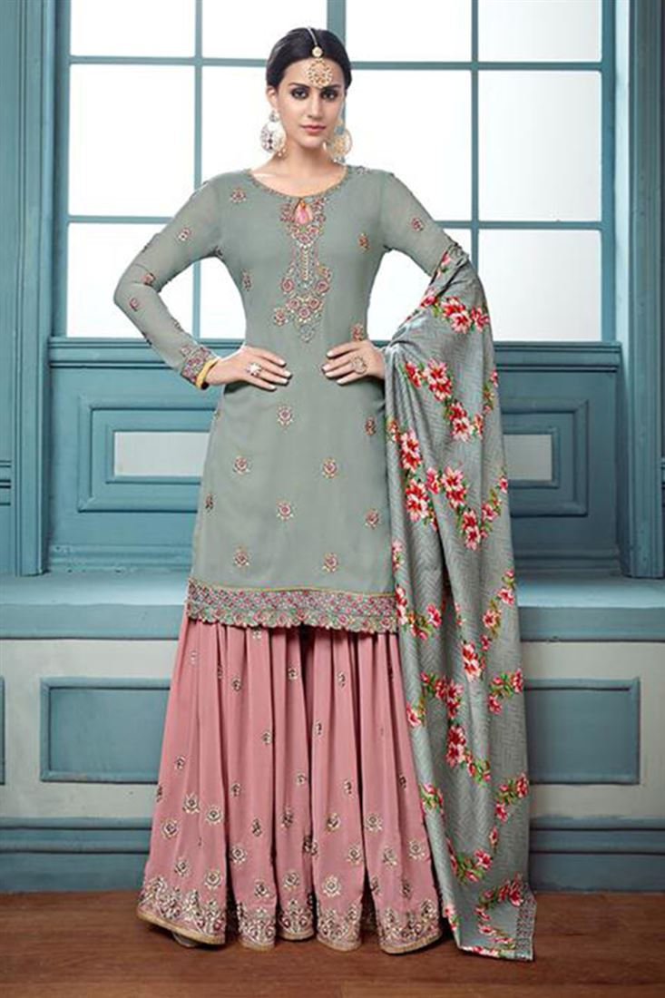Traditional Georgette Wholesale Embroidered Salwar Kameez Catlogs Manufacturer In Brazil