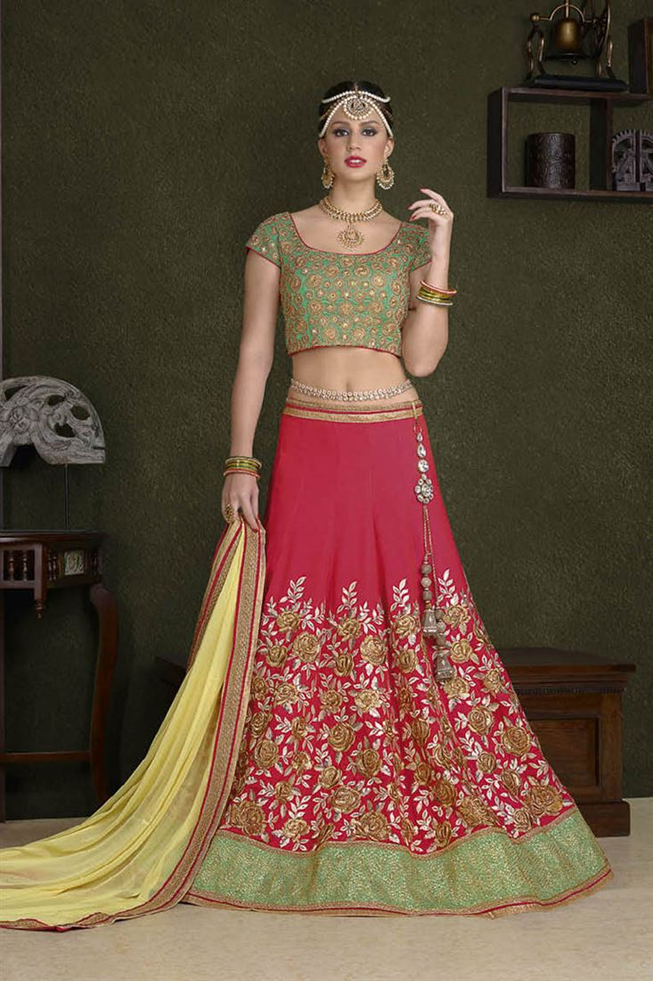 Tremendous Cotton Silk Fabric Embroidery Work Lehenga In Ethiopia
