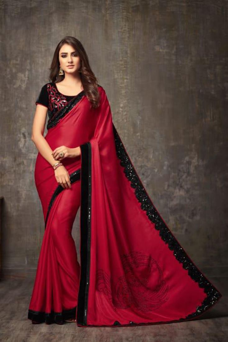 Tremendous Georgette Embroidered Work Un Stitched Sarees In Thailand