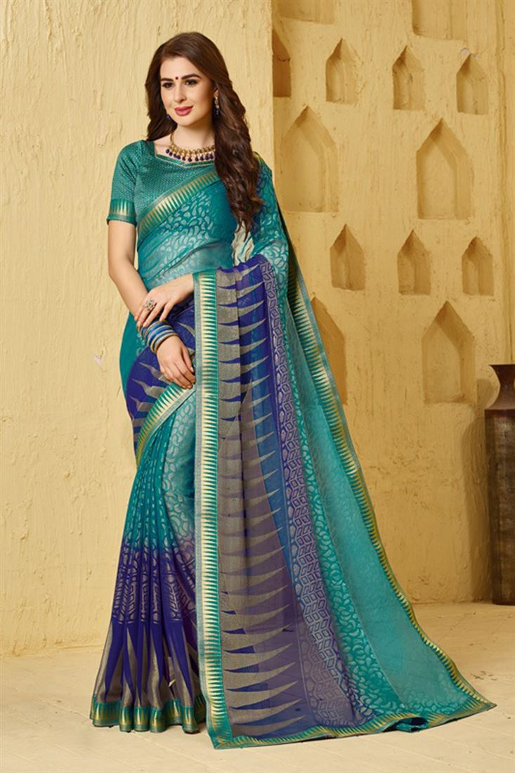 Unique Brasso Fabric Glossy Print Sarees Catalog Seller In India