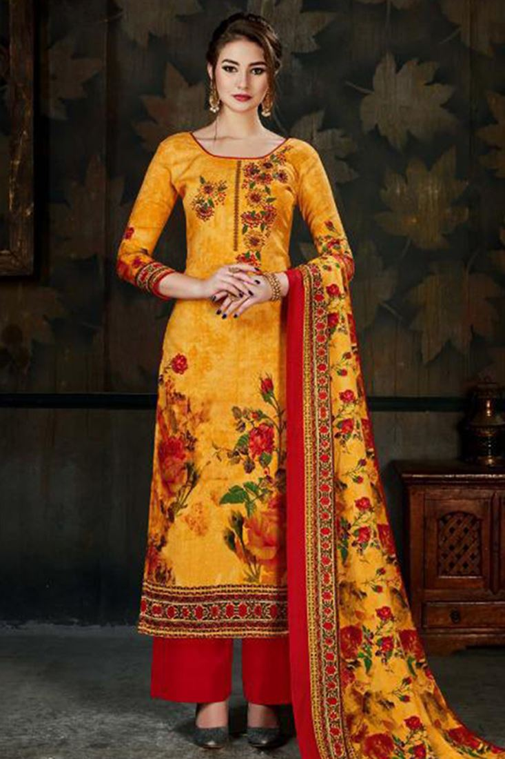 Unstitched Pashmina Salwar Kameez Catalog Ladies Printed Pashmina Suits Supplier Embroidered Straight Long Suits Wholesaler