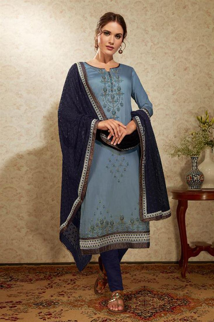Wholesale Price Embroidered Churidar Dress Material Catalog Of Salwar Kameez Online Chudidar Salwar Suits Supplier In USA