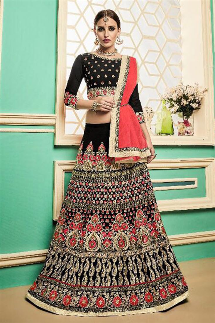 Womens Silk Heavy Embroidered Work Lehenga Wholer Bridal Wear Catalogue Exporter Whole Garments Online India