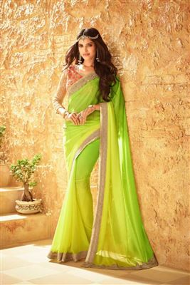 Appealing Georgette Embroidered Work Un Stitched Sarees In Canada