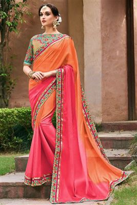 Attractive Faux Georgette Embroidered Work Un Stitched Sarees In Bangladesh