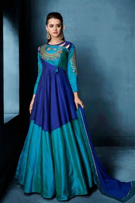 Beauteous Silk Embroidered Work Full Stitched Salwar Kameez In Hong Kong