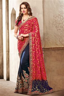 46db763c2f Bridal Wedding And Party Wear Indian Stylish Embroidery And Lace Work Sarees  Catalogue Manufacturer
