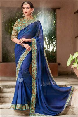 Compelling Faux Georgette Embroidered Work Un Stitched Sarees In Argentina